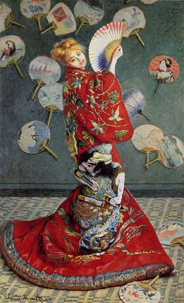 「着物を着たモネ夫人」(1875年)
