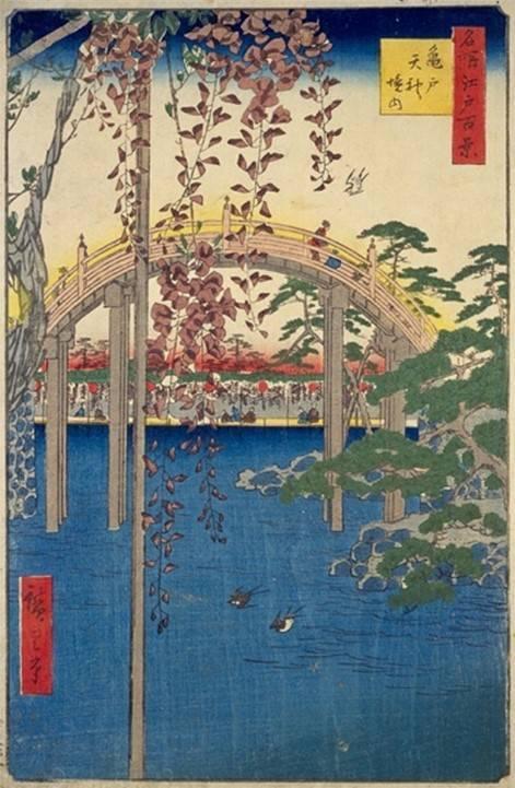 歌川広重「名所江戸百景 亀戸天神境内」(1856年)