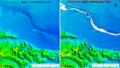 左:2.5万地形図からの10m-DEM 右:LPによる5m-DEM