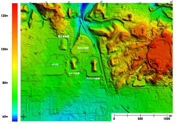 奈良市「コナベ古墳」周辺。基盤地図情報5mメッシュ(標高)を使用