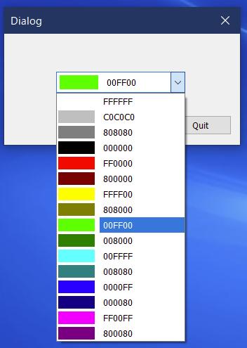 色が選択できるコンボボックス