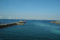 浜金谷港から三浦半島を望む。ちょうど船が反転中の図。