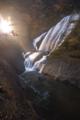 ライトアップされた滝は綺麗。吊り橋から頑張りました。