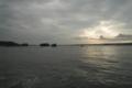 夕陽にそまる松島
