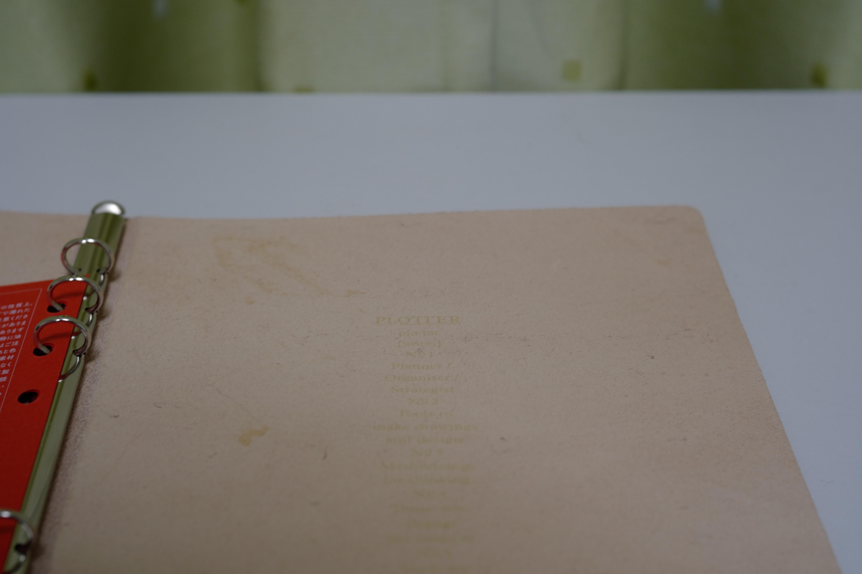 PLOTTERブライドルレザーのバインダー本体内側に印字された五箇条の御誓文