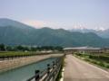 [風景・景観][空][河川]常念岳方面を望む