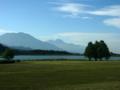 [風景・景観][空][山][湖]霊仙寺湖と黒姫山・妙高山