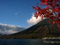 [空][山][紅葉]中禅寺湖畔 (栃木県日光市)