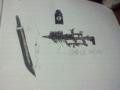 万年筆で適当に書いたαの武器