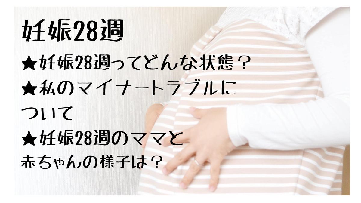 大きくなったお腹に両手を当てている妊婦、妊娠28週とは