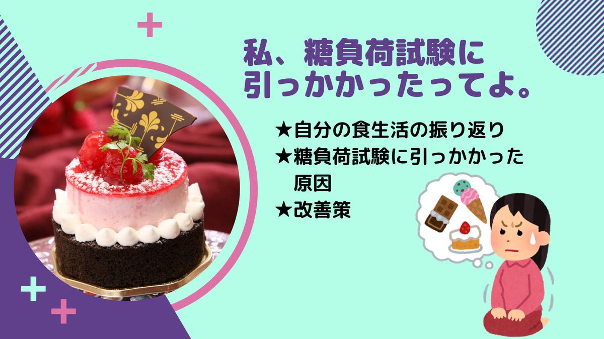 妊娠中の糖負荷試験とお菓子についてを考えている女性のイラストとケーキの写真