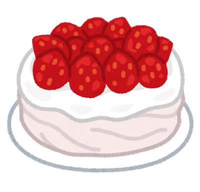 苺のホールショートケーキのイラスト