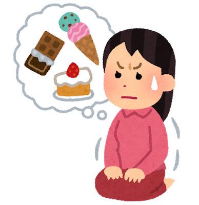 お菓子を食べるのを我慢する女性のイラスト