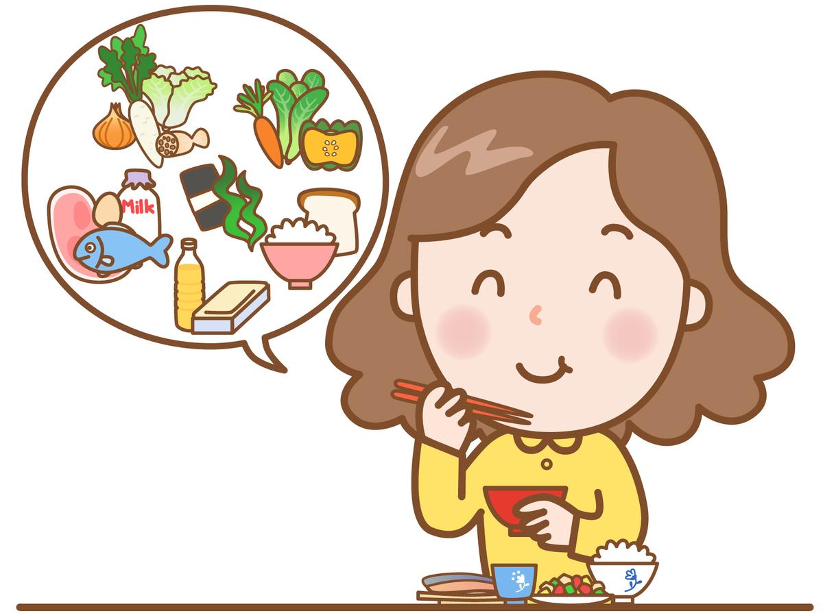 バランスの良い食事を心がけて食事をしている女性のイラスト