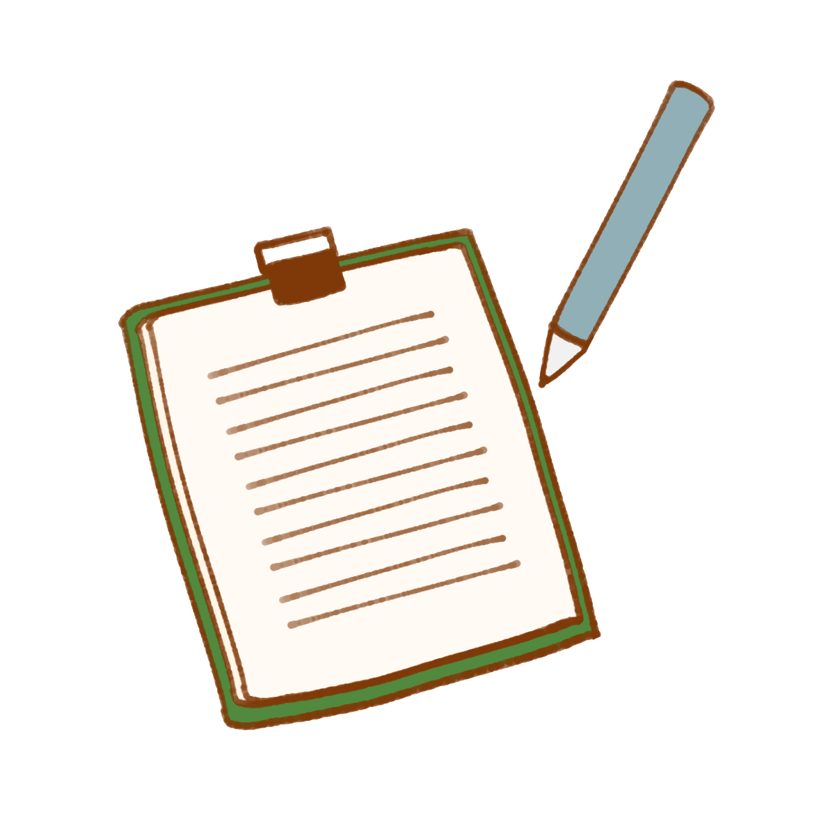 ペンとメモ帳のイラスト