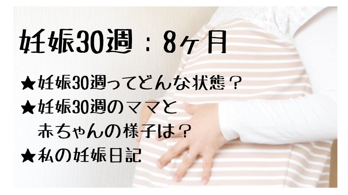 妊娠30週とはの説明文と両手をお腹に当てている妊婦