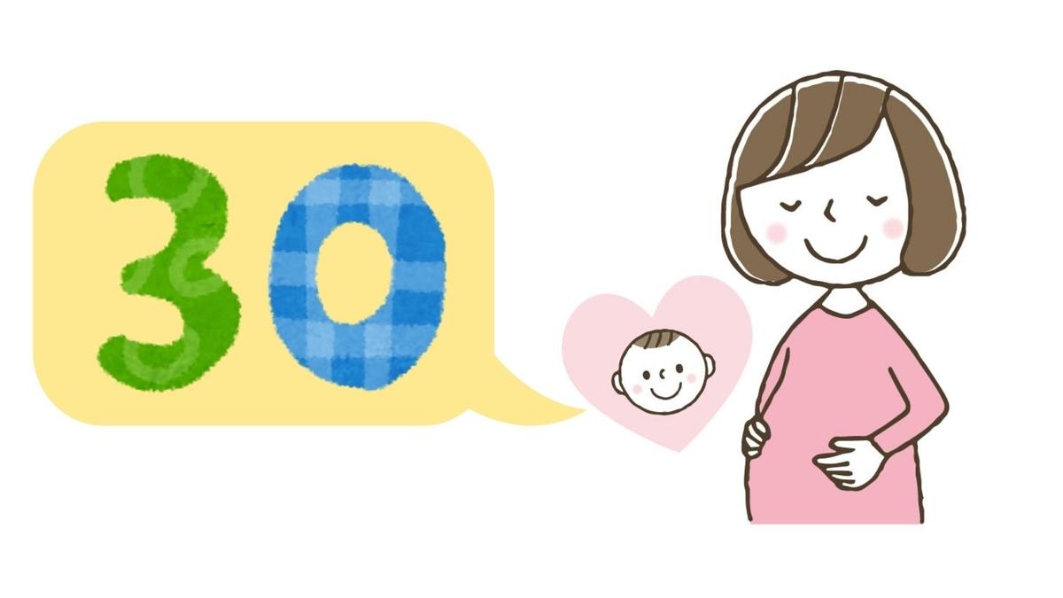 妊娠30週と言っている妊婦と赤ちゃんのイラスト
