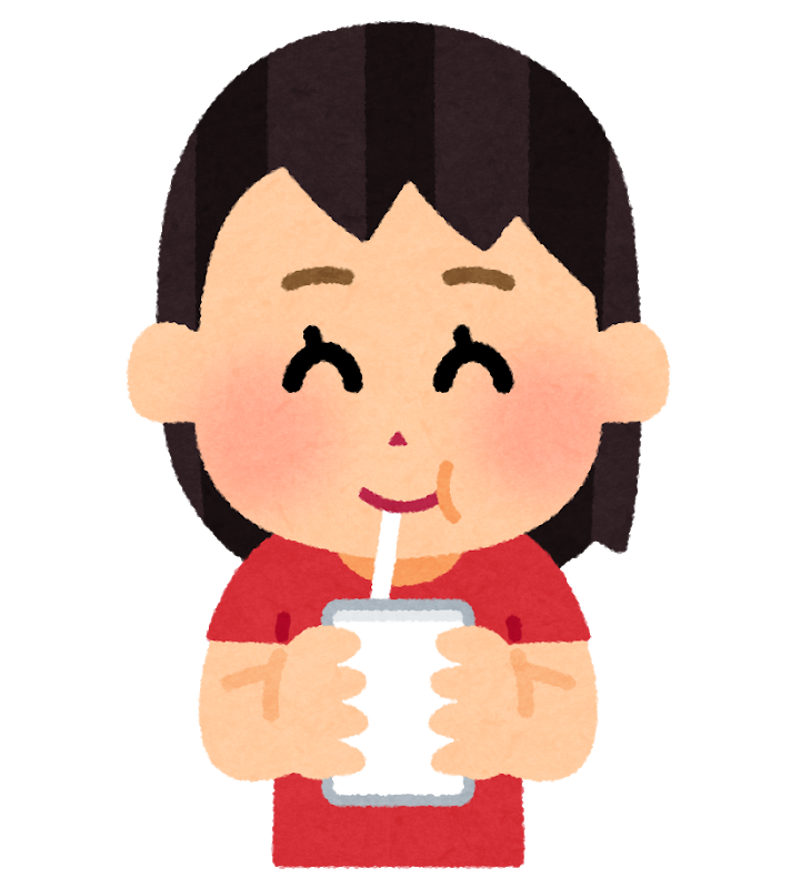 水分摂取をしている女の子のイラスト