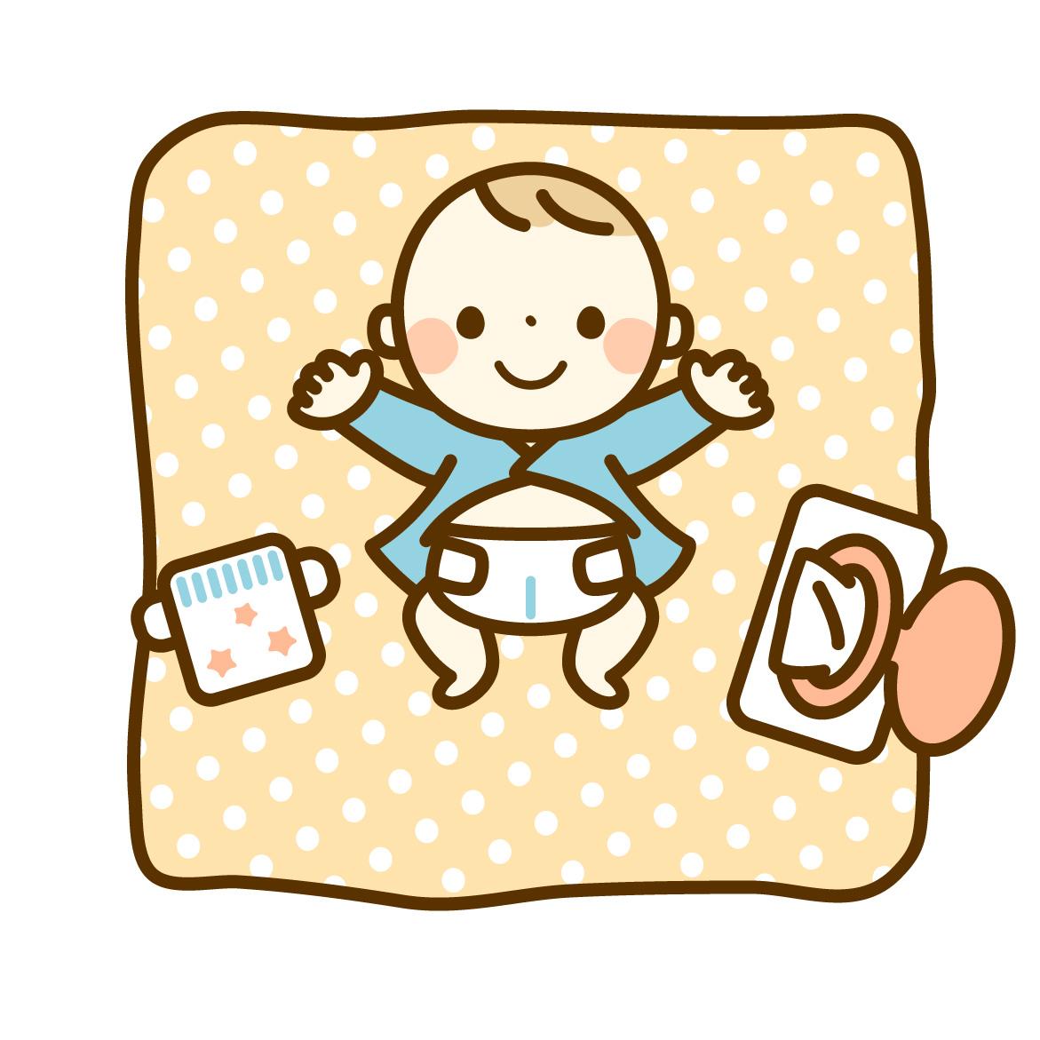 オツム替えをする前の赤ちゃんとお尻拭きとオムツのイラスト
