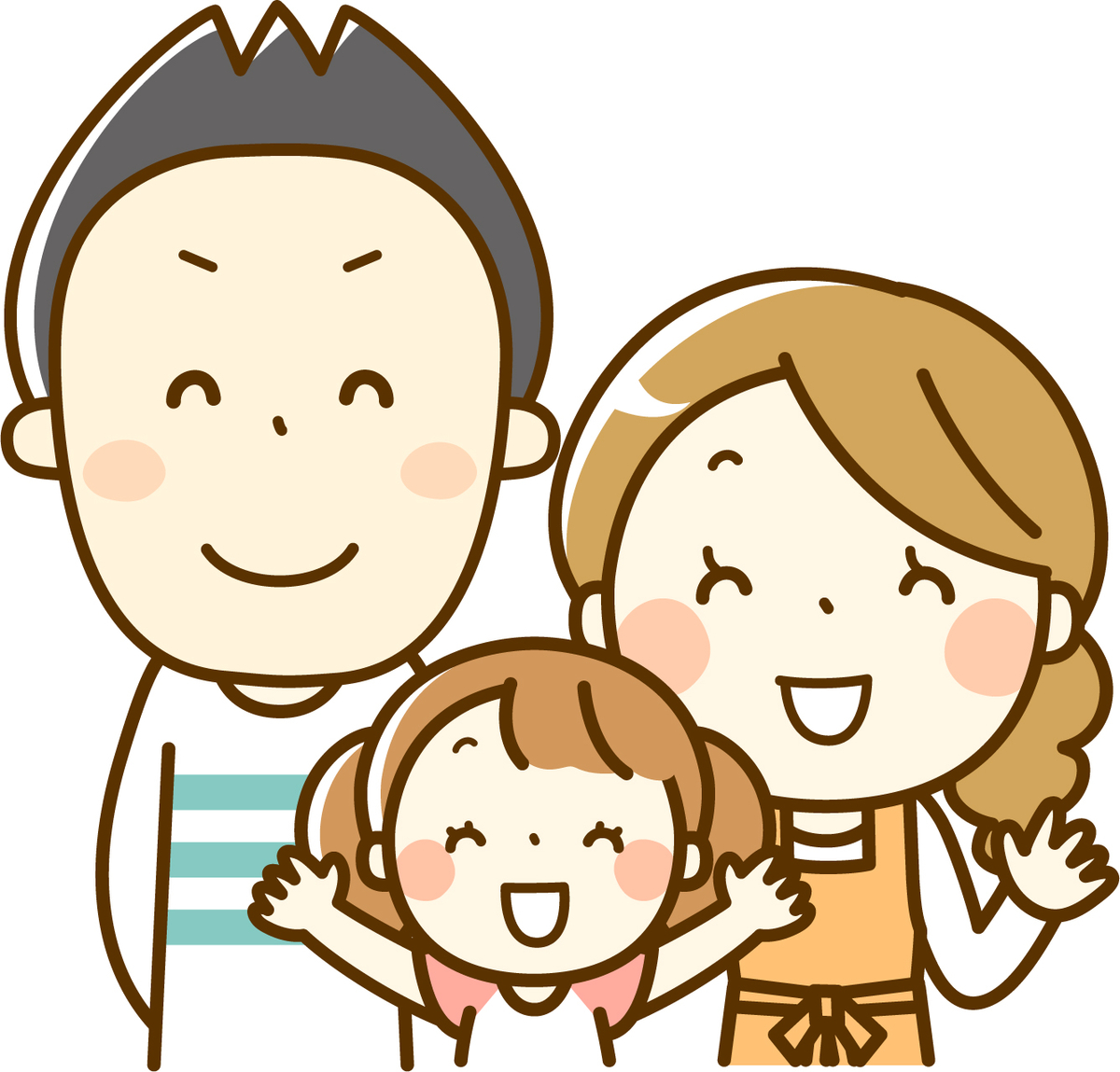 両親、娘の3人とも笑顔のイラスト