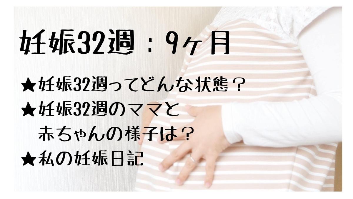 両手をお腹に当てている妊婦と妊娠32週についての記載がある画像