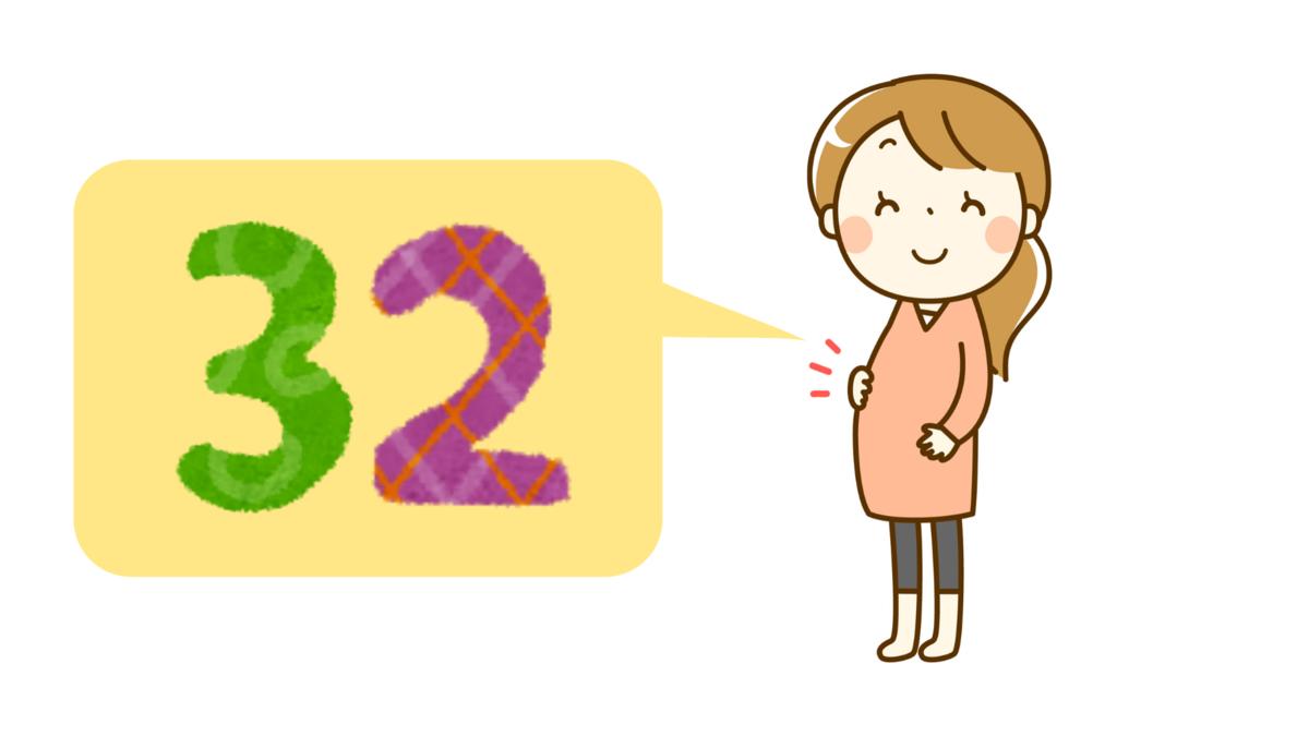 妊娠32週の妊婦のイラスト