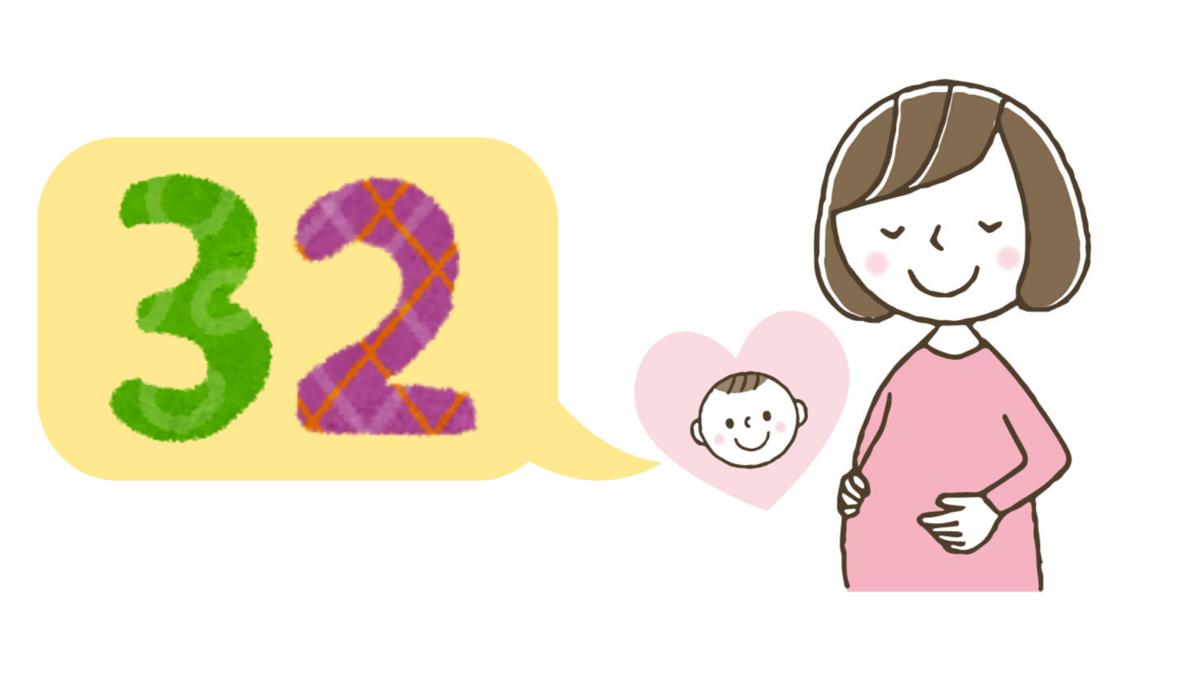 妊娠32週の赤ちゃんと妊婦のイラスト