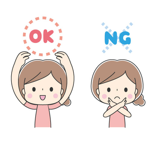 OKとNGと言っている女の子のイラスト