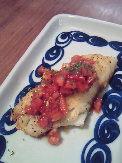 タラのソテー with トマトとバルサミコのソース