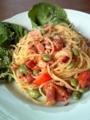[パスタ]枝豆やミニトマトをペペロンチーノに入れてみた