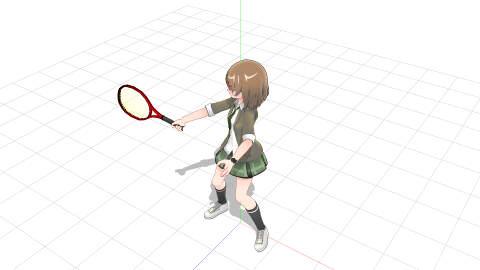 加速したラケットヘッド側は体の位置を追い越し、ラケット面を後ろから見る位置関係
