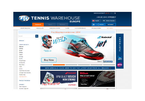Tenniswarehouseトップ