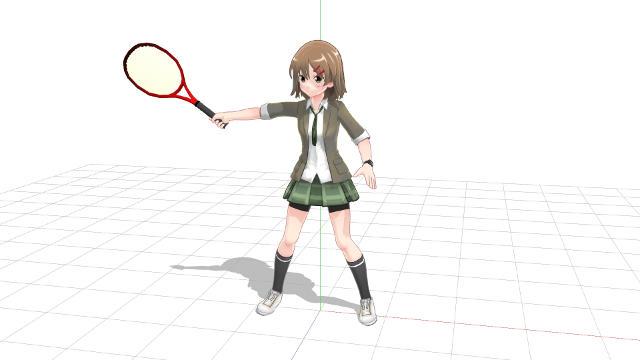 片手打ちバックハンド、前腕を回転(プロネーション)させてラケットを持ち上げる2