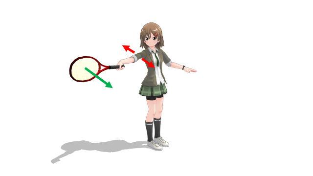 直立状態でラケットを持った腕を水平方向に伸ばす 力が入らない