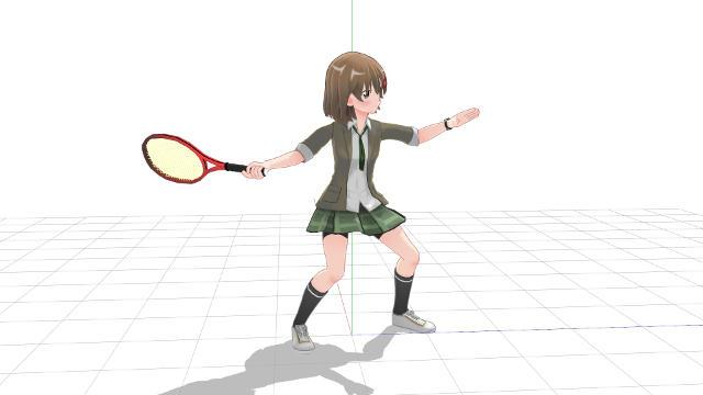 テニス、フォアハンド、軸足で地面を蹴って伸び上がるようにしてパワーを出す1