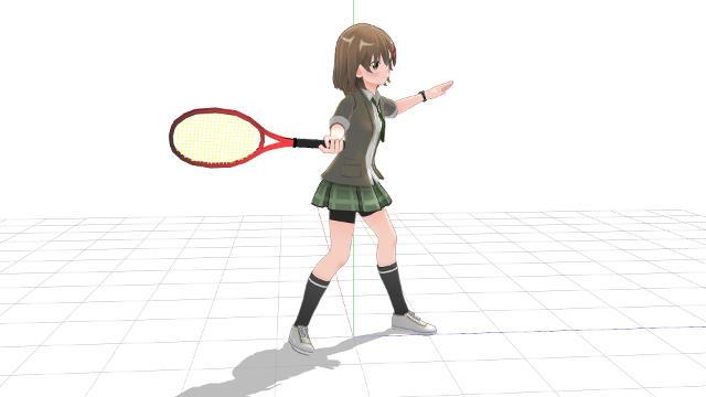 テニス、フォアハンド、軸足で地面を蹴って伸び上がるようにしてパワーを出す2