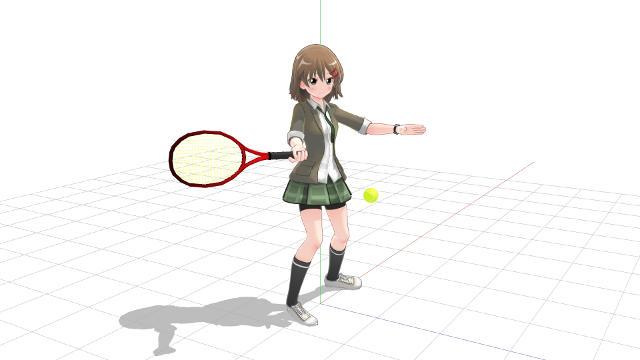 テニス、フォアハンド、実際にボールを打つ