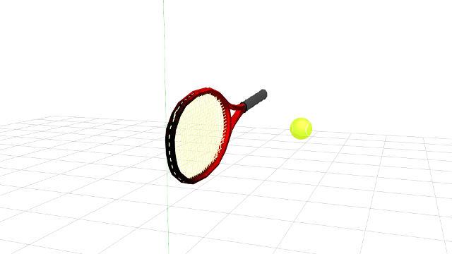 テニスのストローク、ラケットとボールが接触することで始めてボールに力が伝わる
