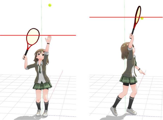 トロフィーポーズで頭よりも高い位置にあるラケットを更に振り上げて高い打点でボールを打つ