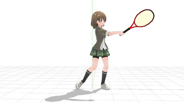 テニス フォアハンド 横向き フォロースルー