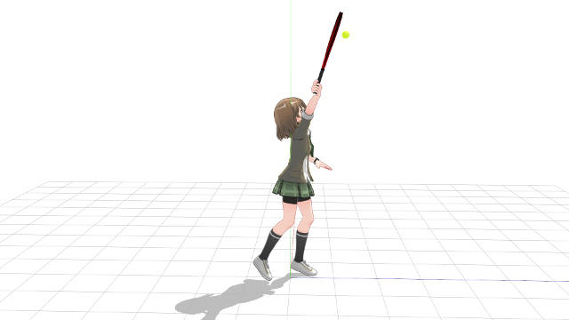 トスして空中にあるボールにラケットを当てにいっているインパクト