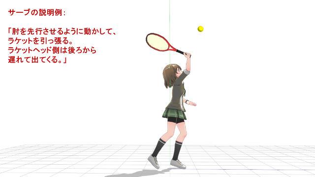 テニス サーブ 腕や肘が先行してラケットは後から出てくる