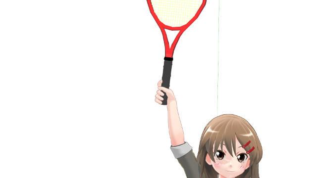 テニス サーブのインパクト 腕とラケットが一直線になったイメージ