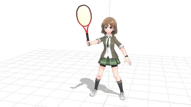 ネットに正対し腕を前方に伸ばすようにしてラケット面を向ける