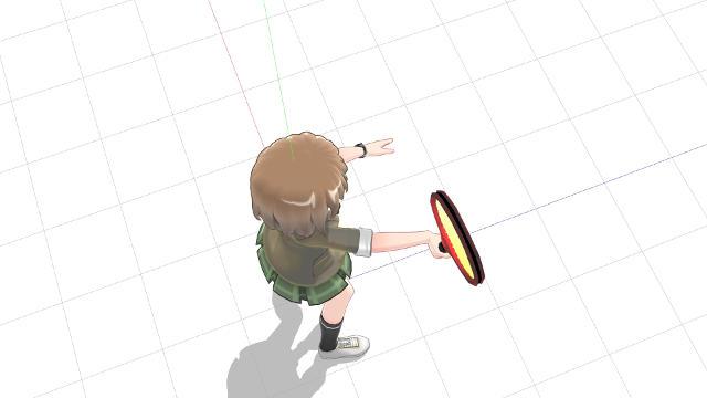 ネットに正対し腕を前方に伸ばすようにしてラケット面を向ける(横から)