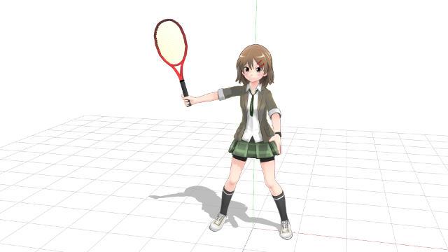 腕を広げるように伸ばしてラケット面を向ける