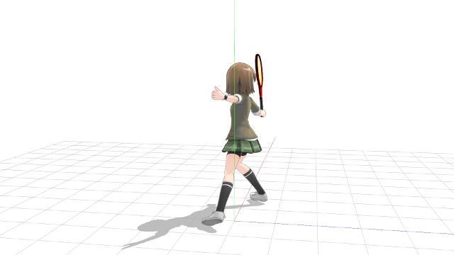 より遠い位置のボール軌道上でバックハンドボレーを打つ(横から)