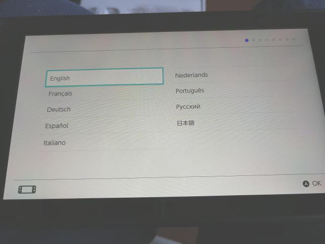 米国版NIntendo Switch セットアップ画面