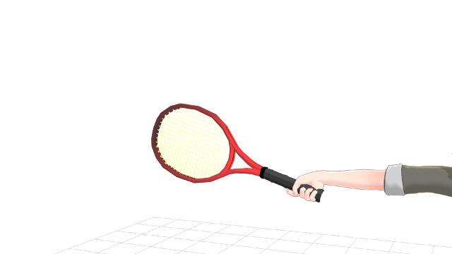 敢えて手首の伸ばすようにしてラケットを握る