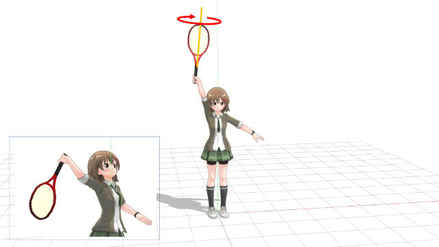 サーブ インパクトで腕とラケットが一直線